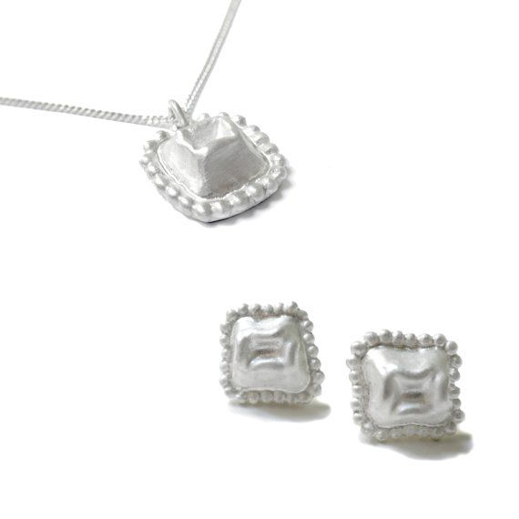 Square post stud Earrings pendant necklace set by ChenFuchsJewelry, $275.00