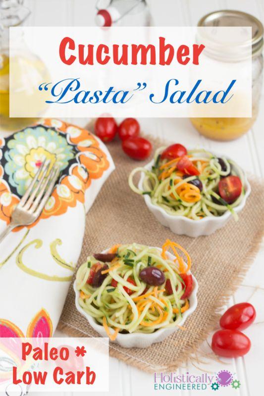 Paleo Cucumber Pasta Salad #Whole30 #21DSD #grainfree