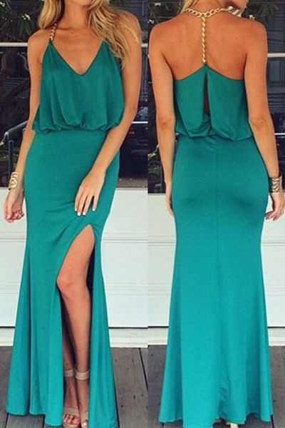 Backless Metal Chain High Slit Maxi Dress