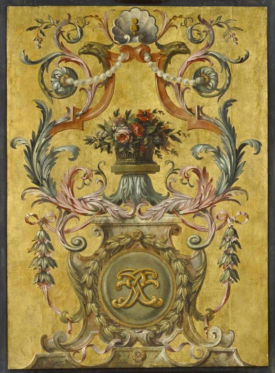 One painted panel   Painted and gilded oak   Paris, France, about 1661   J. Paul Getty Museum