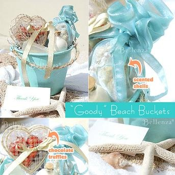 'Gifts buckets' full of welcoming treats for summer beach wedding guests