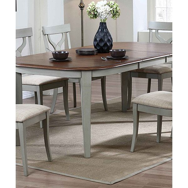 K&B Furniture Gray & Walnut Dining Table ($450) ❤ liked on Polyvore featuring home, furniture, tables, dining tables, two tone dining table, leaf tables, walnut dining table, expandable kitchen table and butterfly leaf table