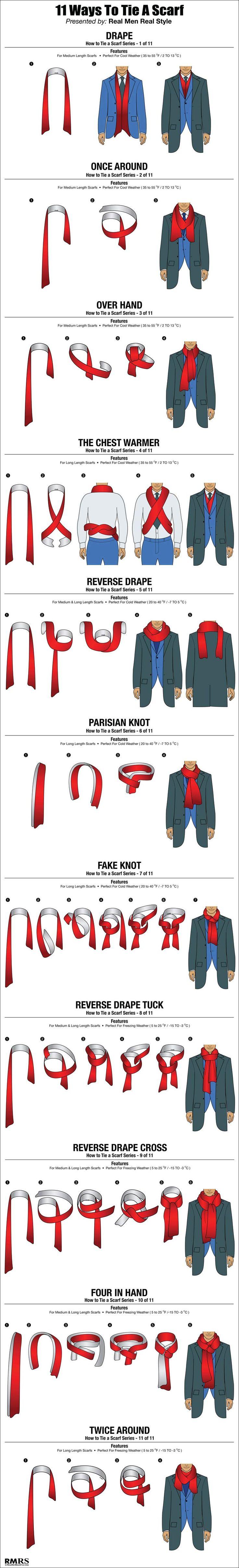 How To Tie A Scarf Chart – 11 Masculine Ways To Tie Scarves (via @Antonio Centeno)