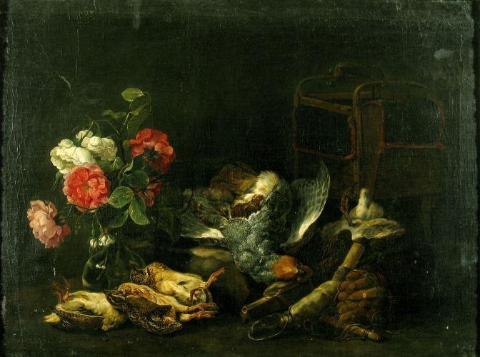 Natură moartă cu vânat și flori (în registrul inventar: Natură moartă și unelte de vânat) | INP - National Heritage Institute, Bucharest | Public Domain Marked
