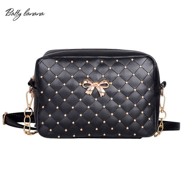 9dcb9a424009 BATTY BANANA 2017 Fashion Women Bag Solid Crossbody Bags For Women Rivet  Chains Women Messenger Bags