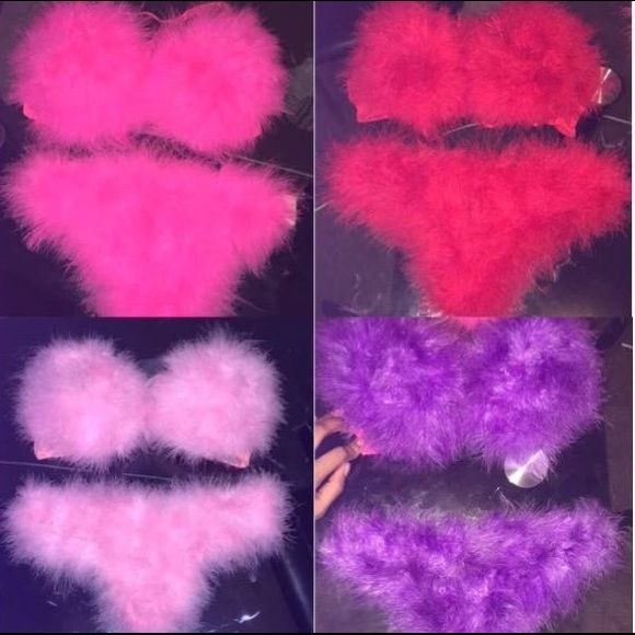 Furry sexy bra set Sexy fur bra set ! I can make it in whatever color you'd like . I'd just need to know your bra size/ color bra / color fur , type of bra ( push up/ reg etc Intimates & Sleepwear Bras