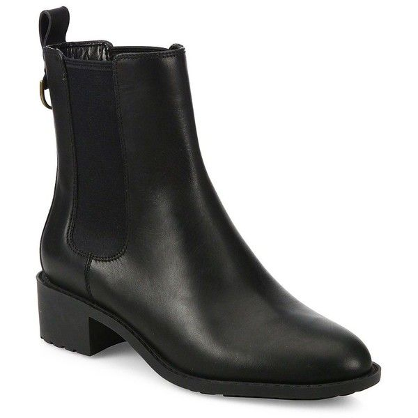 Cole Haan Women's Daryl Waterproof Leather Chelsea Boots ($220) ❤ liked on Polyvore featuring shoes, boots, ankle booties, black waterproof, chelsea boots, waterproof booties, slip on boots, black leather booties and black chelsea boots