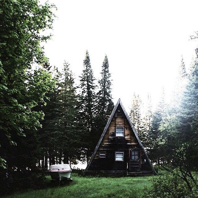 Remain simple. #getoutdoors #upknorth Mid-forest, lakefront A-frame captured by @theriaultsam.