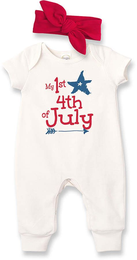 36e4f1c2f489 Zulily Ivory My 1st 4th Of July Short Sleeve Romper   Red Headband - Newborn    Infant  babygirl
