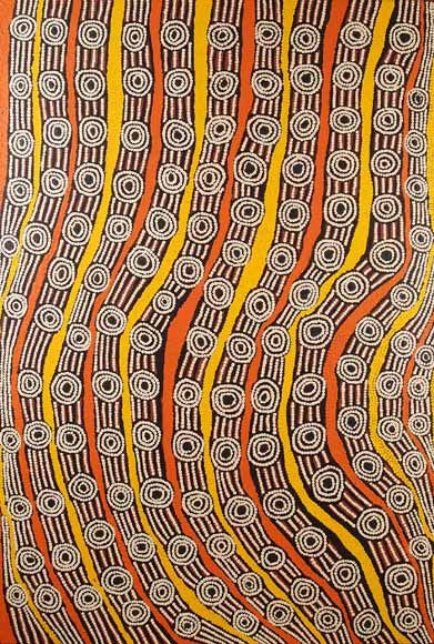 Brenda Napaltjarri ~ Mitukatjirri --Brenda is from the Kintore community, 700km west of Alice Springs. She generally paints stories that relate to her country and homelands in the Kintore region and women's dreaming stories that have been passed down to her from her ancestors.