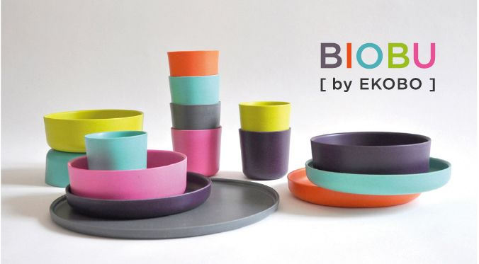 BIOBU, by EKOBO, sustainable and bio-compostable bamboo fibre tableware: resistant, reusable & renewable (and dish-washer safe!).