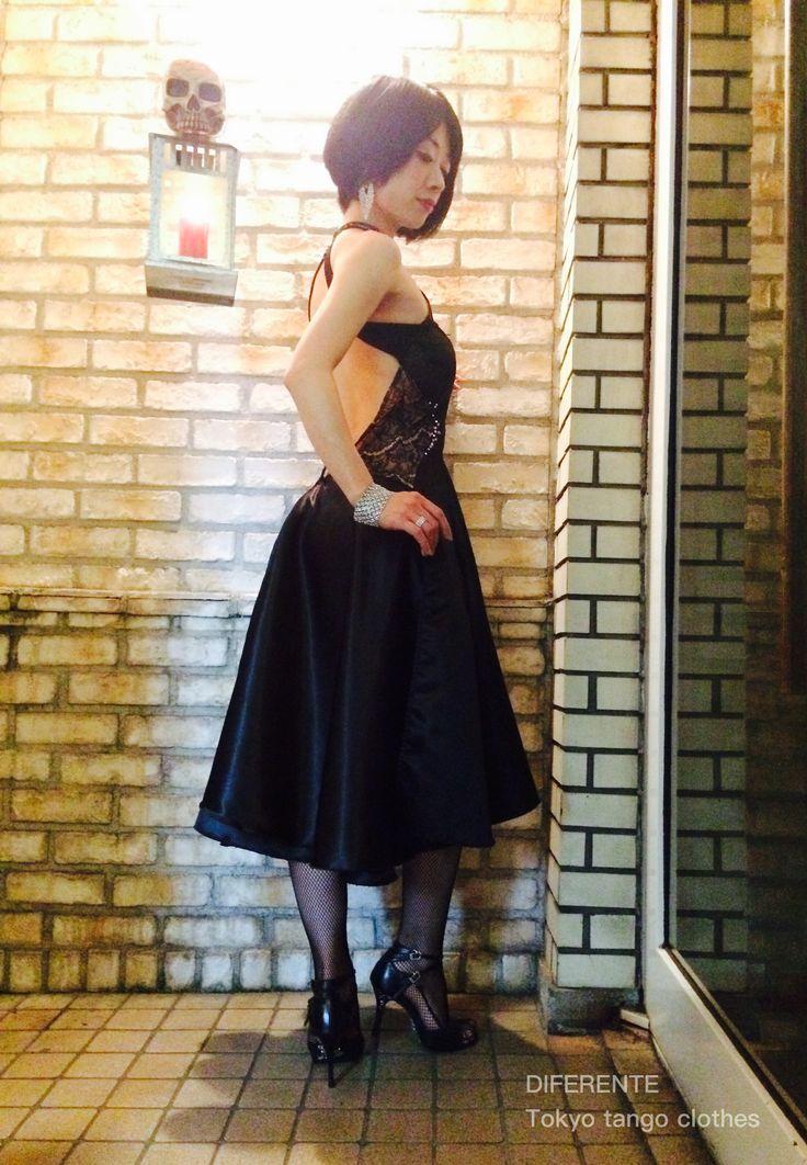 We made elegant black tango dress for tango dancer Ms.Magi. #tangodress