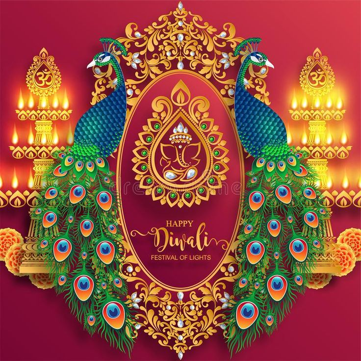 Happy Diwali festival card. With gold diya patterned and