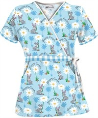 Happy Easter Bunny Scrub Top By Uniforms Advantage.  Love the Bahama Blue Color!