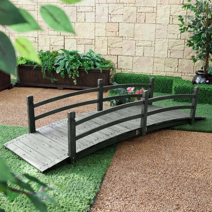 8 ft outdoor garden bridge with handraisl in weather resistant dark wood stain - Dark Hardwood Garden Decorating