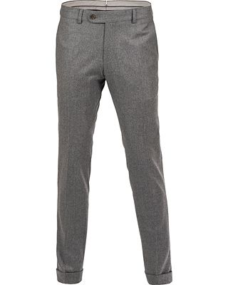 Morris Heritage Fred 120's Light Flannel Trousers Dark Grey i gruppen Byxor / Uddabyxor hos Care of Carl AB (12096411r)