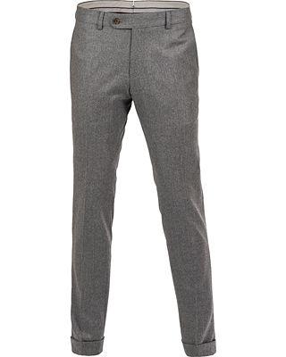 Morris Heritage Fred 120's Light Flannel Trousers Dark Grey i gruppen Byxor / Uddabyxor hos Care of Carl AB (12096411r)
