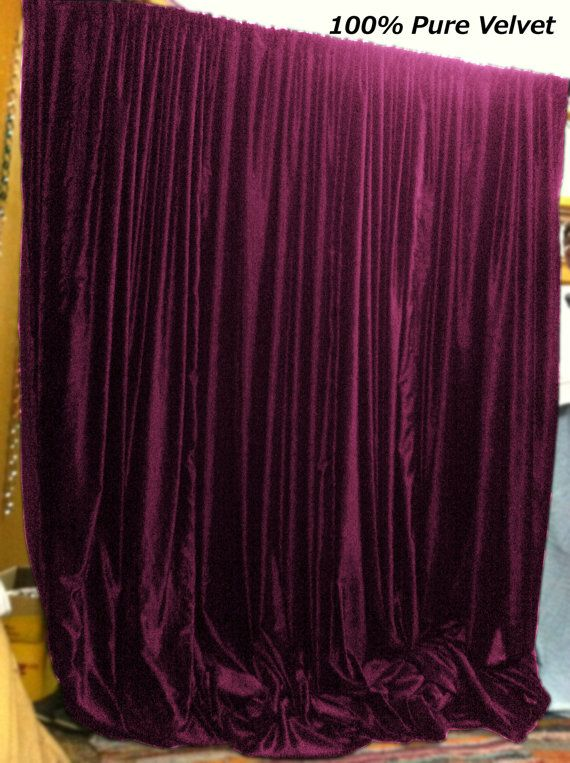 Plum Color Royal Pure Velvet Curtains Drapes Panel By