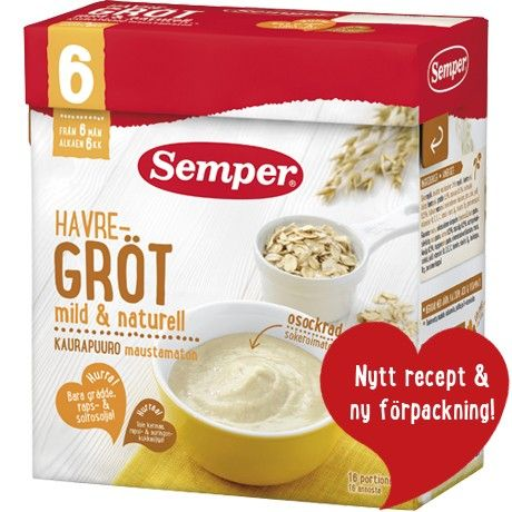 Semper Havregröt mild & naturell. Baby cereal from 6 months.
