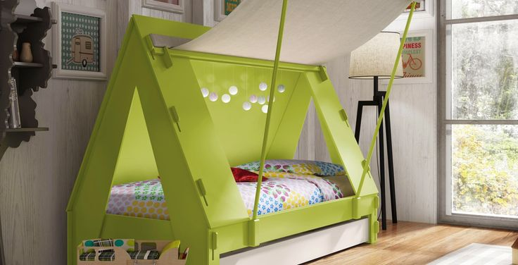Keep your children entertained right at home with this Kids Tent Cabin Canopy Bed. The bed can either be transformed into an enclosed bed or canopied, depending on your child's preferences. It is also great for sleepovers because of its sliding second bed underneath.
