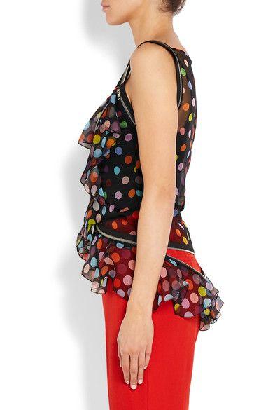Givenchy - Zip-detailed Polka-dot Silk-chiffon Blouse - Black - FR