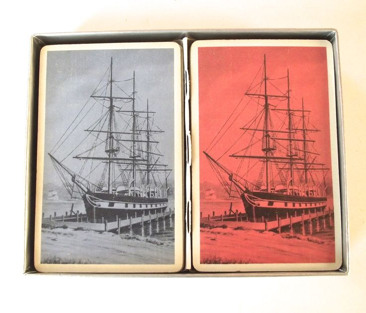Vintage Illustrated Pinochle Cards, Double Set with Tall Ships Nautical Illustration from Hamilton Playing Cards by planetalissa on Etsy