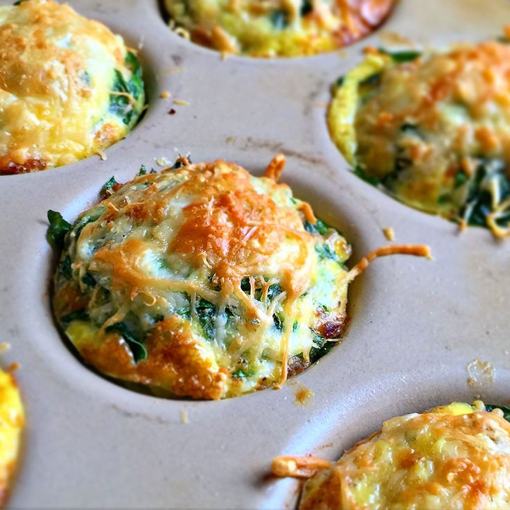 Breakfast Sausage Egg Cups with Spinach and Parmesan