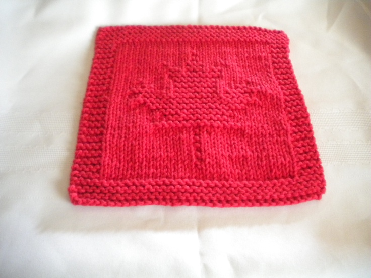 Knitted maple leaf dishcloth i made in march stuff