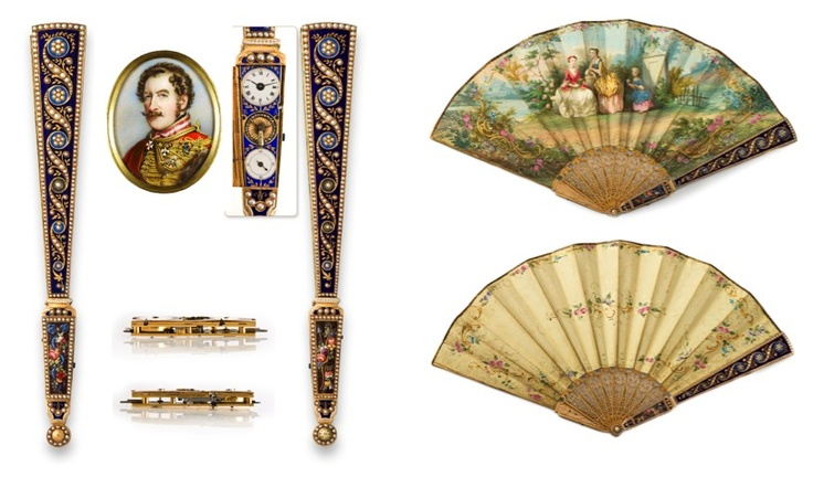 MAGNIFICENT ROYAL PRESENTATION MUSICAL FAN WITH CONCEALED WATCH, A GIFT FROM PRINCE FERDINAND OF SAXE-COBURG AND GOTHA TO VICOMTE DE MORAIS.