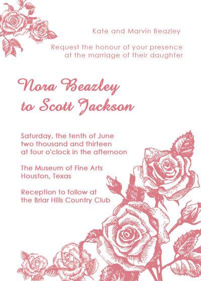 Rose Vintage Wedding Invitation