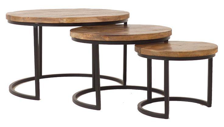Set van 3 ronde salontafels met een metalen frame en houten blad (ironwood triole)  Laagste