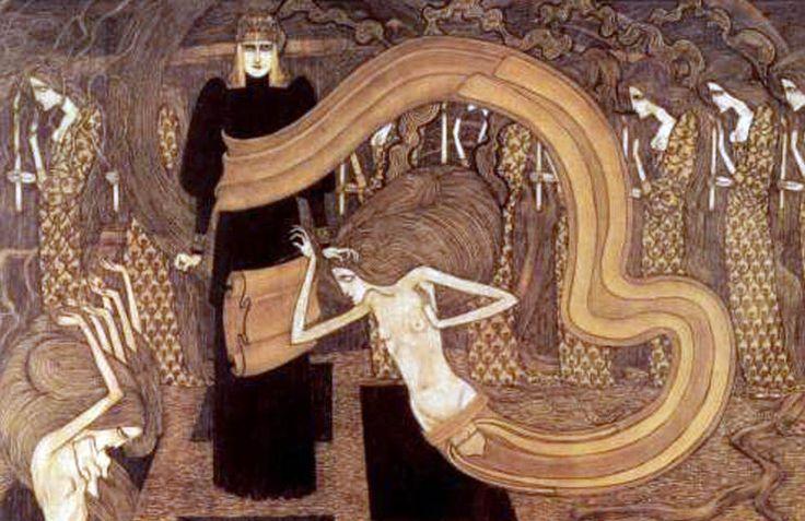 DIPINGENDO UN GIGLIO SEMI APERTO, IN CUI LA FERTILIZZANTE RUGIADA SPIRITUALE E' GIA' CADUTA JAN TOOROP 1/3 – Lui era nato sull'isola di Giava, da genitori olandesi, e la sua prima infanzia era stata avvolta dalle suggestioni orientali di quell'isola. Aveva frequentato l'Accademia di Belle Arti di Amsterdam, restando artisticamente influenzato a Bruxelles, all'ombra all'ambiente ...