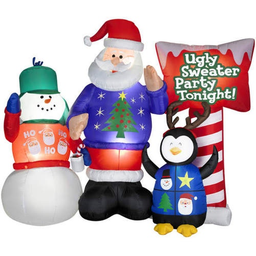 Funny Christmas Inflatable Yard Decorations: Inflatable Ugly Sweater Party Outdoor Christmas Yard Decor