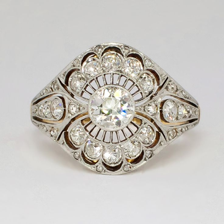 Rare Russian Antique 1.41ct t.w. 1900's Lacey Old European Cut Diamond Ring 18k Sterling Silver   Antique & Estate Jewelry   Jewelry Finds