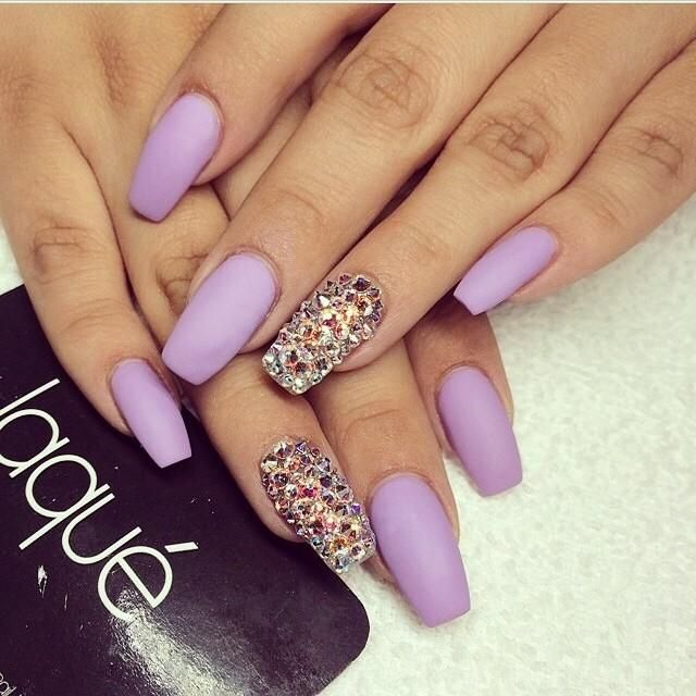 Lilac coffin nails with gems