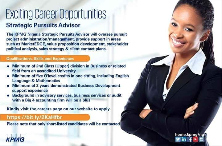 Vacancy At Kpmg For Strategic Pursuits Advisor Kindly Check The