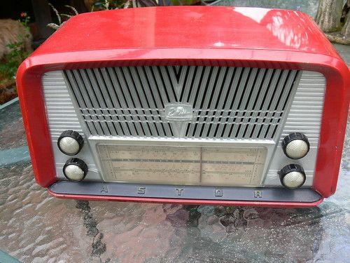 Vintage Astor Swan Radio Red Case
