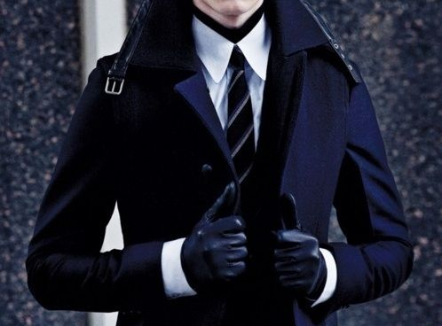 Dark trench and leather gloves