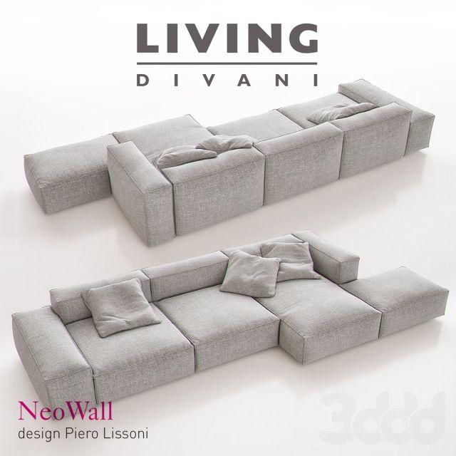 3d модели: Диваны - Living Divani - NeoWall Sofa Composition I