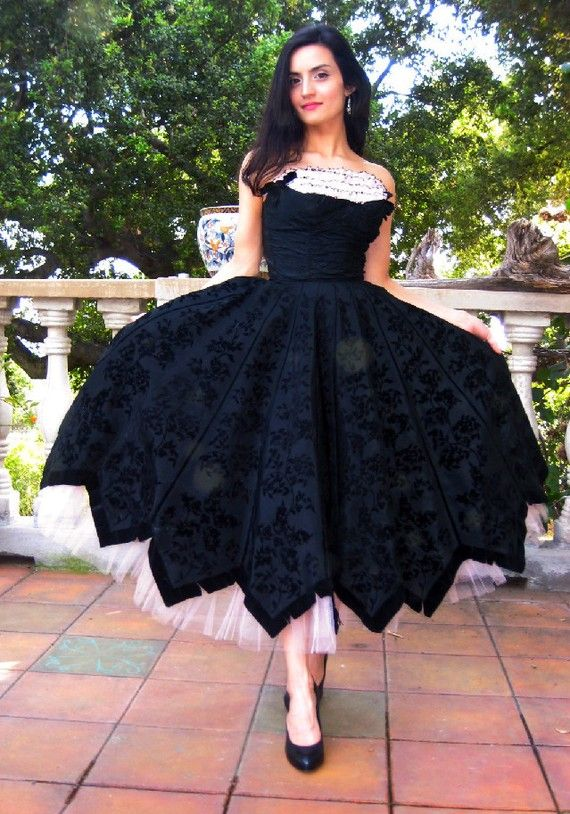 GORGEOUS 1950s Black and Petal Pink Formal Dress ...Etsy