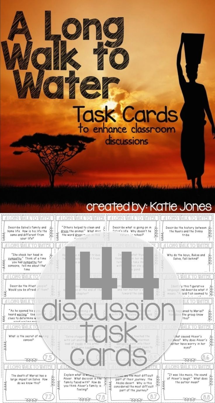 144 task cards for A Long Walk to Water - great ideas to increase classroom discussion