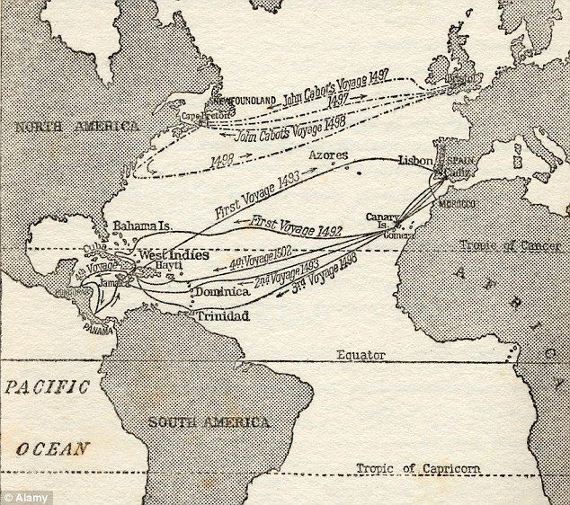 Map showing the voyages of Christopher Columbus and fellow explorer John Cabot: The expedition is said to have been funded not by Queen Isabella of Spain, but by three prominent Jews.
