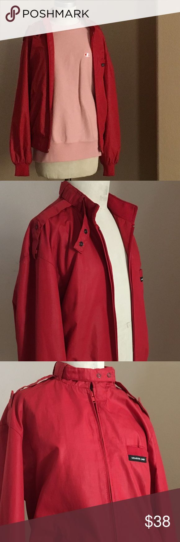 "cherry red members only moto mock neck jacket vtg dream jacket! marked a 9/10 fits like an XS, bust max 34"" length 20"" in fantastic condition with tiny ink spots on elbow (see photo)! and twin with the same sized white members only jacket also for sale! :) Opening Ceremony Jackets & Coats"