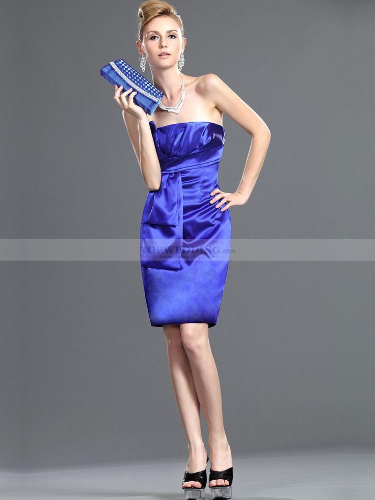 Strapless Knee Length Sheath Bridesmaid Dress with Pleats