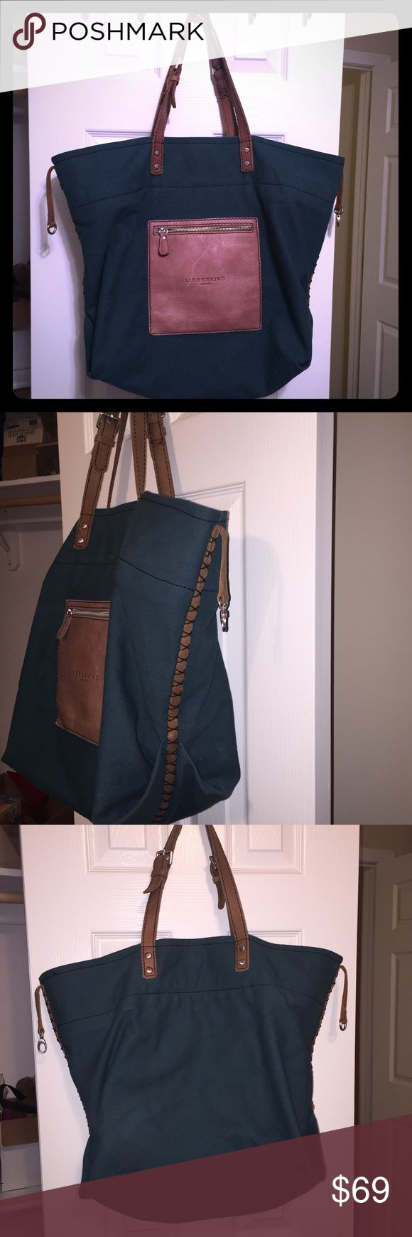 SALE! Liebeskind large dark green canvas tote This tote is perf ft for traveling! I've used it once to go to NYC. It has an outer zip small leather pocket, two inner zip pockets (one on each side) and a larger removable inner zip bag that clasps into place. It has braided leather detail on the outer edges, and a lobster claw clip to hold it shut. Approx 21.5w x 16h with a maximum of 10 in strap drop (can shorten) Liebeskind Bags Totes