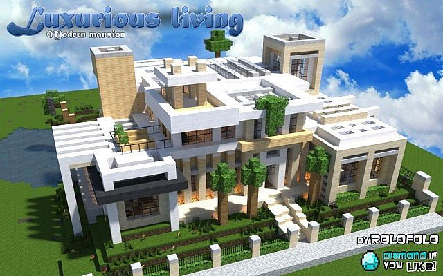 Modern luxurious living mansion at 39 wok 39 and 39 minecraft for Big modern house tutorial