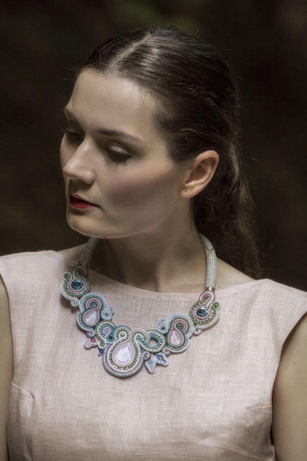 Great gift for soutache lovers. Fabric Necklaces 'Elena' / light blue / light pink – a unique product by Zuzana_Barcakova via en.DaWanda.com