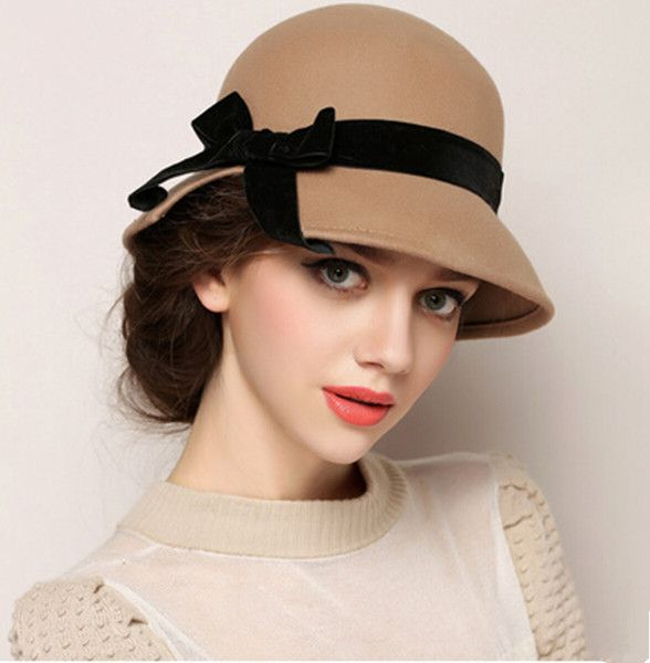 Bow wool cloche hat for women fashion bowler winter hats