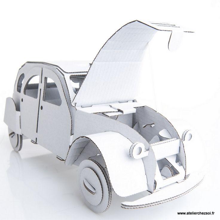 Voiture 2CV en carton blanc à construire Leolandia - Maquette en - maquette de maison a construire