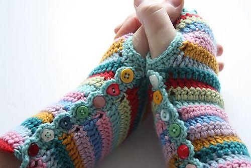 Ravelry: tiggersjp's Stripy Mitts. #Crochet